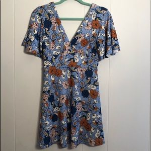 🟣4/$20 Zara Blue Floral Fit and Flare Dress Small